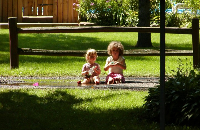 Playing outside at Birchcliff Resort.