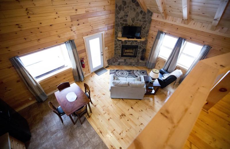 Cabin living room at Aspen Ridge.