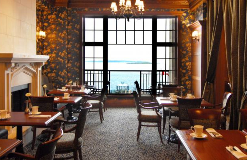 The dining room at Oak Bay Beach Hotel.