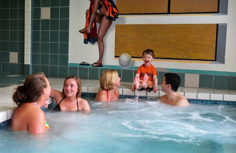 Indoor hot tub at Baker's Sunset Bay Resort.
