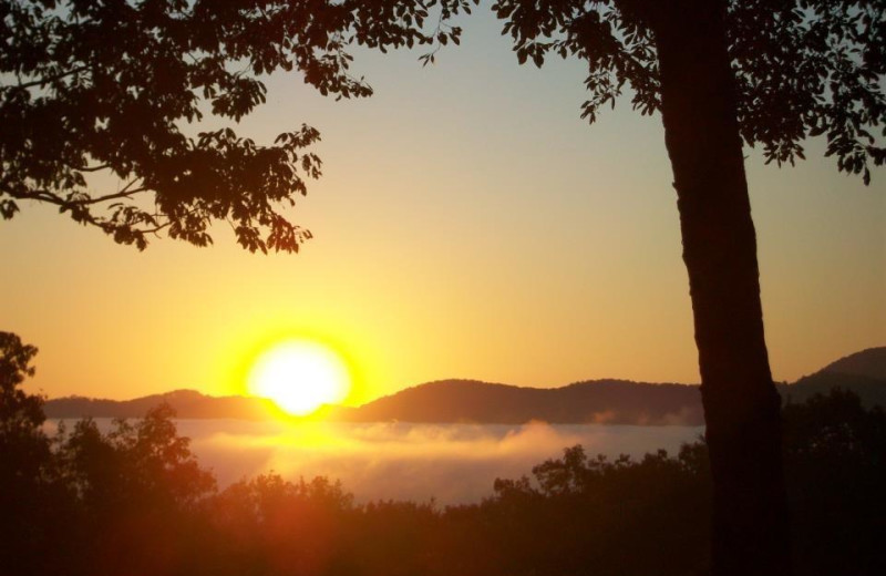 Sunset at Georgia Mountain Cabin Rentals.