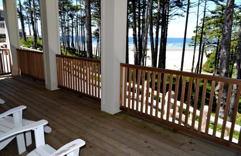 Rental deck view at Seabrook Cottage Rentals.