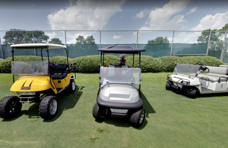 Golf carts at Beau Rivage Golf & Resort.