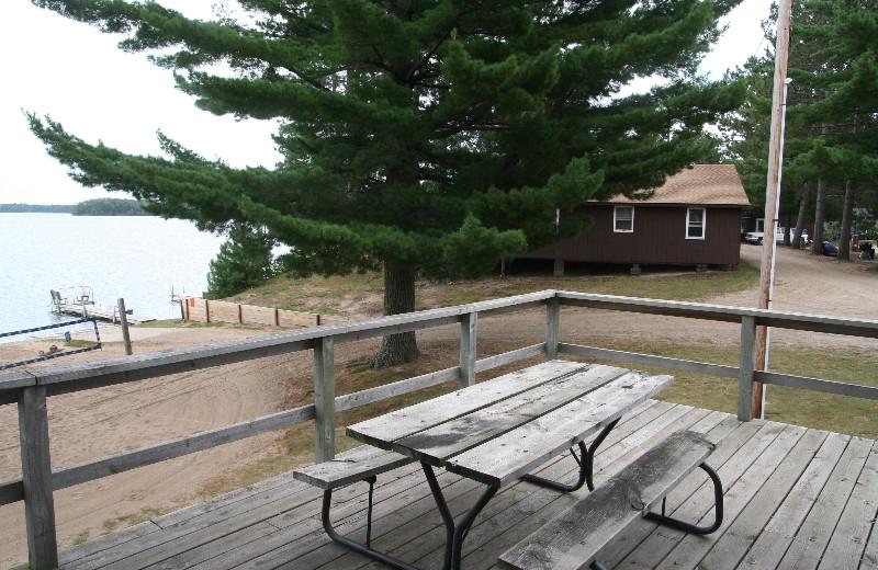 Cabin deck at Bay View Lodge.