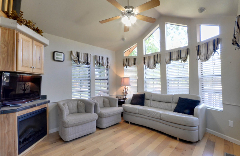 Cottage living room at Mill Creek Ranch Resort.