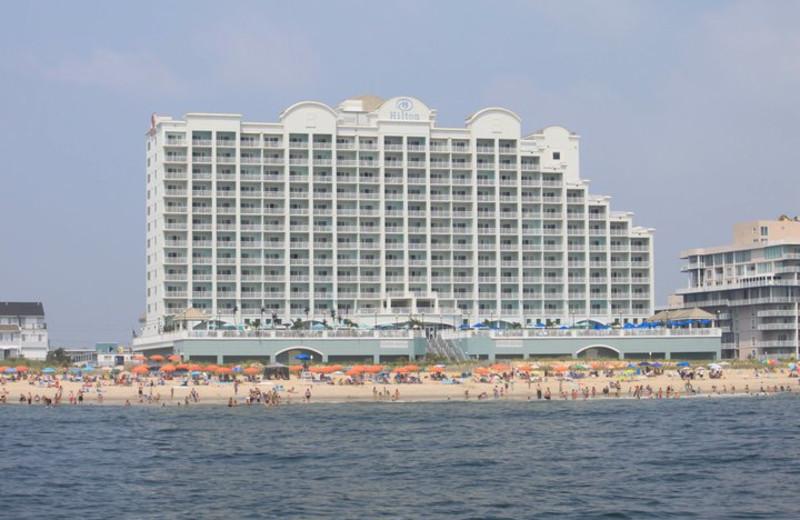 Exterior view of Hilton Suites Ocean City Oceanfront.