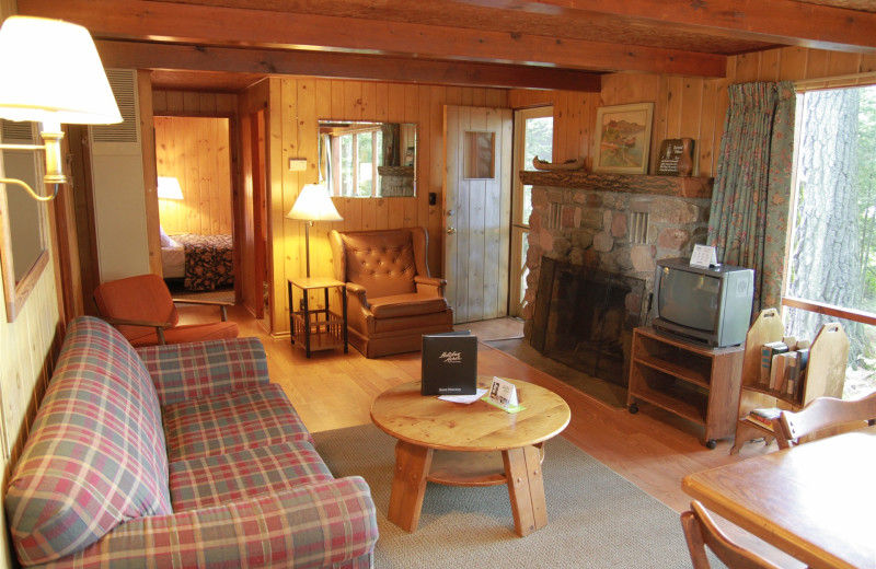 Cabin living room at Holiday Acres Resort.