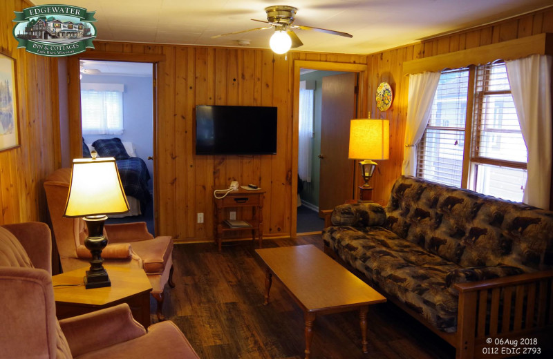 Cottage living room at Edgewater Inn & Cottages.