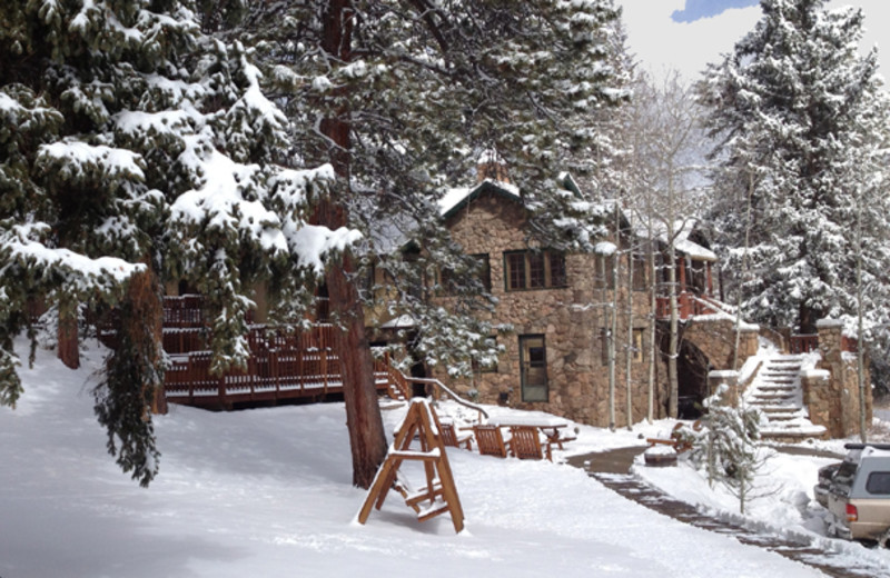 Winter scene at Meadow Creek Lodge and Event Center.