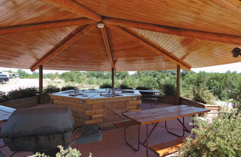 Picnic tables at Colorado Springs KOA.