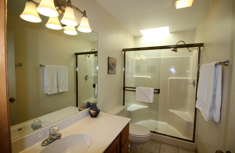 Guest bathroom at Woodlands On Fall River.
