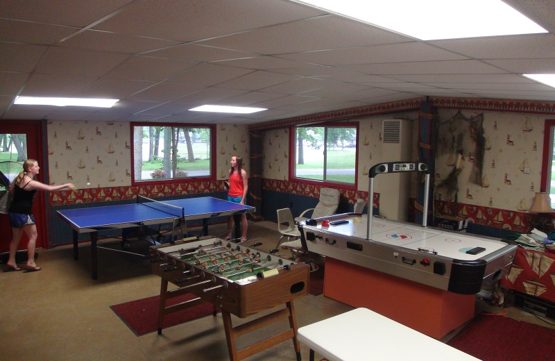 Game room at Gull Lake Resort.