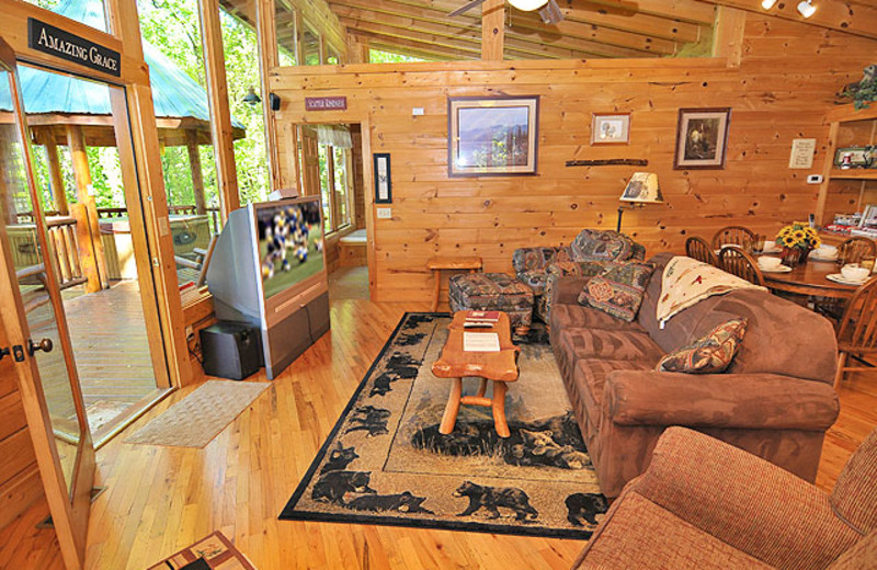 Cabin living room at American Mountain Rentals.