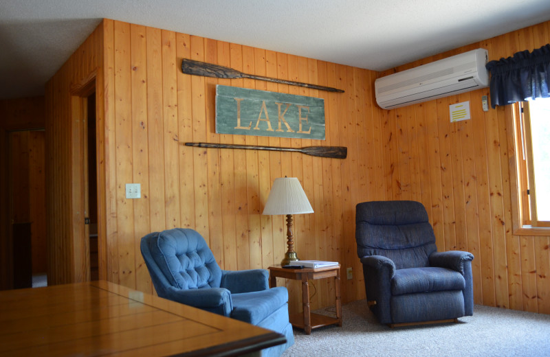Cabin living room at Bay View Lodge.