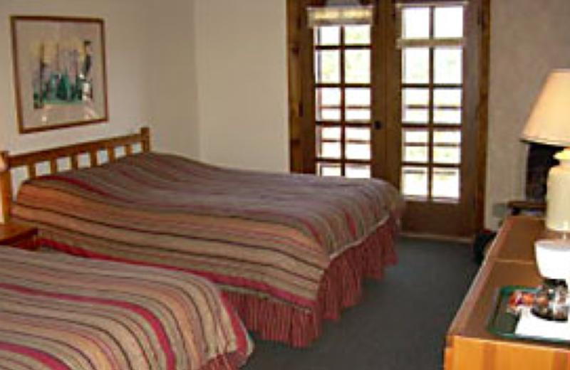 Lodge bedroom at Monument Lake Resort.