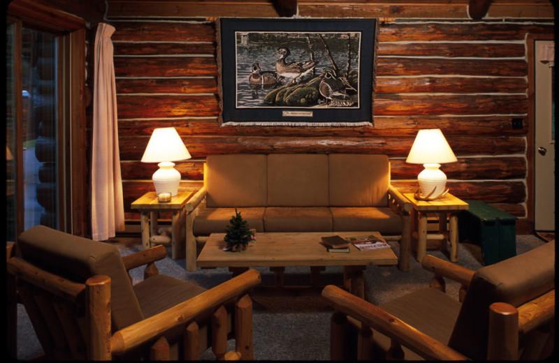 Cabin living room at Pitlik's Sand Beach Resort.