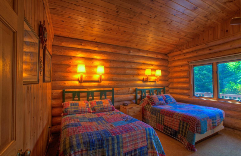 Cabin bedroom at Lutsen Resort on Lake Superior.