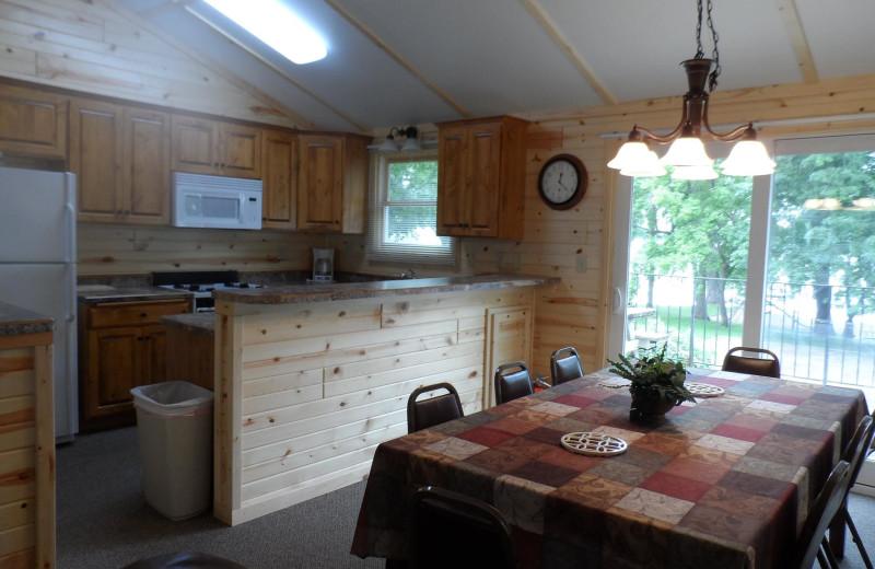Cabin kitchen at Eden Acres Resort.