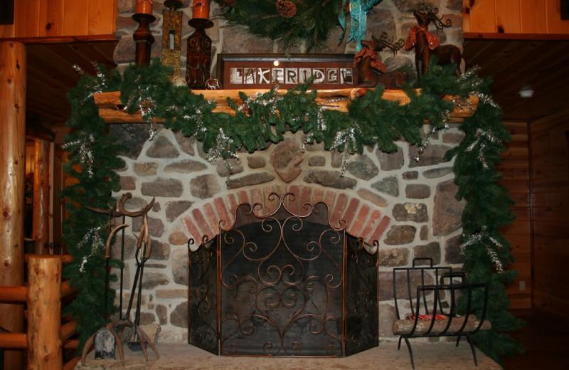 Cabin fireplace at Lake Mountain Cabins.