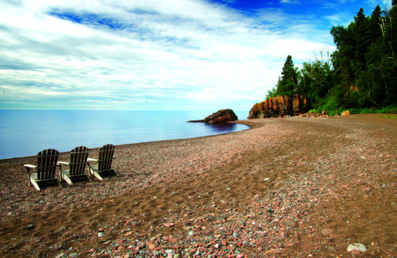 Beach view at Lutsen Resort on Lake Superior.