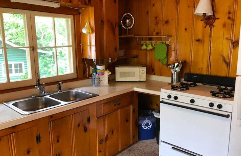 Cabin kitchen at Grandview of Lake Kabetogama.