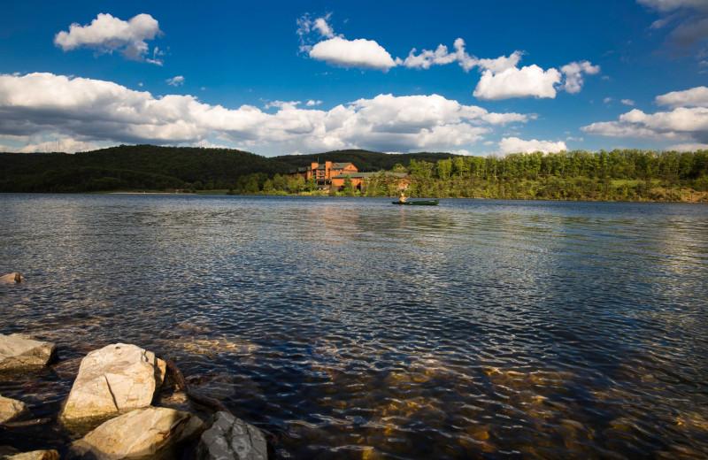 View of resort from Lake Habeeb at Rocky Gap Casino Resort.