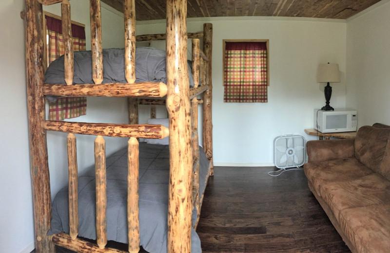 Cabin bedroom at Gwin's Lodge & Kenai Peninsula Charter Booking Service.