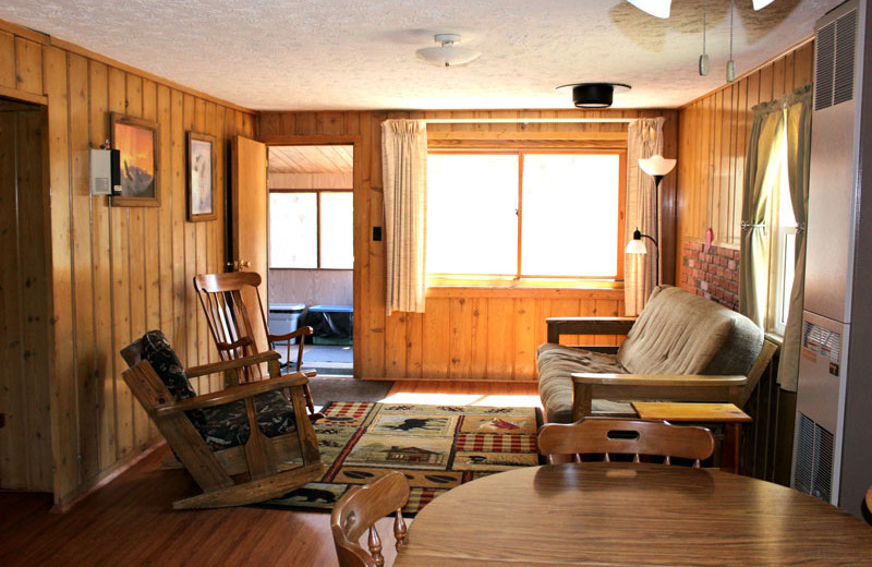 Cabin living room at R & R Bayview Resort.