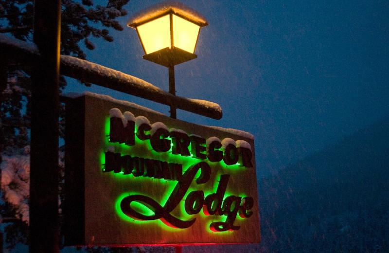 McGregor Mountain Lodge sign.