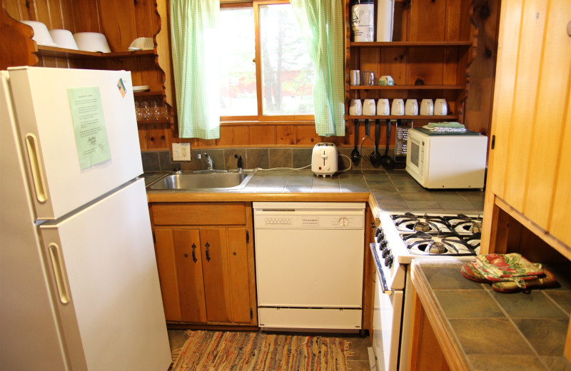 Cabin kitchen at Holiday Acres Resort.