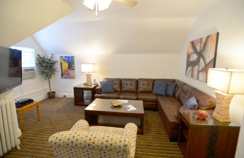 Living room - Large One Bedroom apartment suite at Friendship Suites.