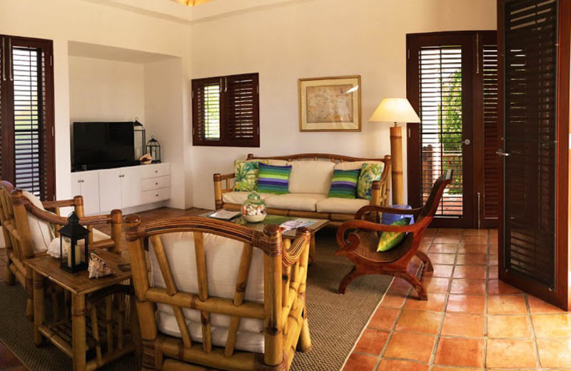 Guest living room at Twin Palm Villas.