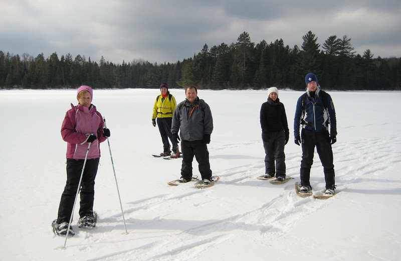 Snowshoeing at Algonquin Eco-Lodge.