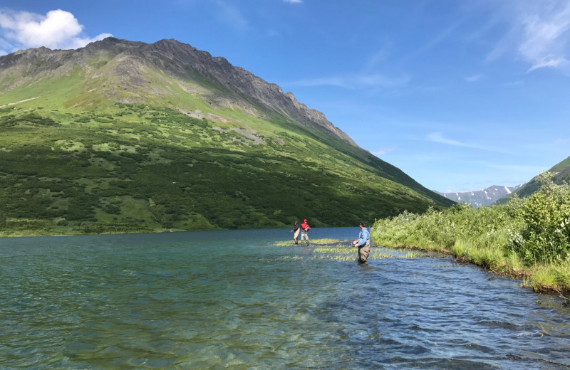 Fishing at Kenai River Drifter's Lodge.