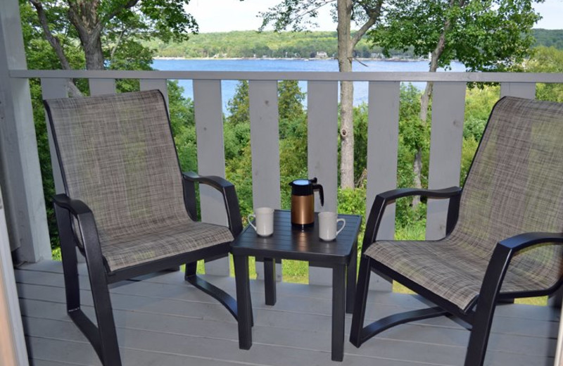 Relaxing on the deck at the Country House Resort.
