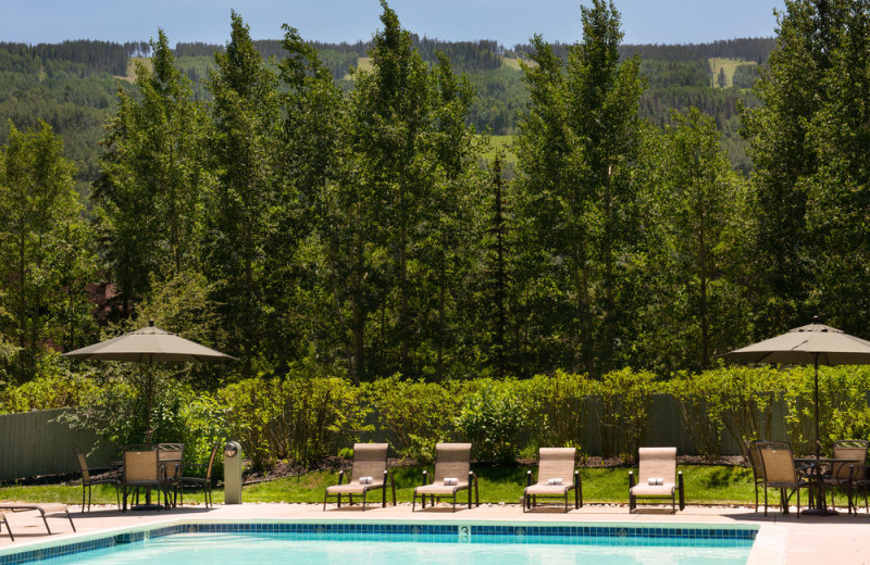 Outdoor pool at Evergreen Lodge.