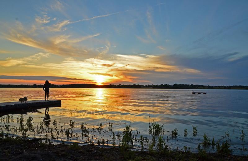 Sunset at Sandbanks Summer Village Cottage Resort.