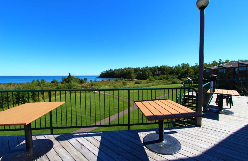 Patio view at Superior Shores Resort.