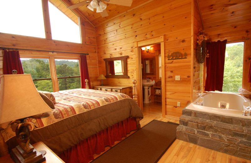 Cabin bedroom at Watershed Cabins.