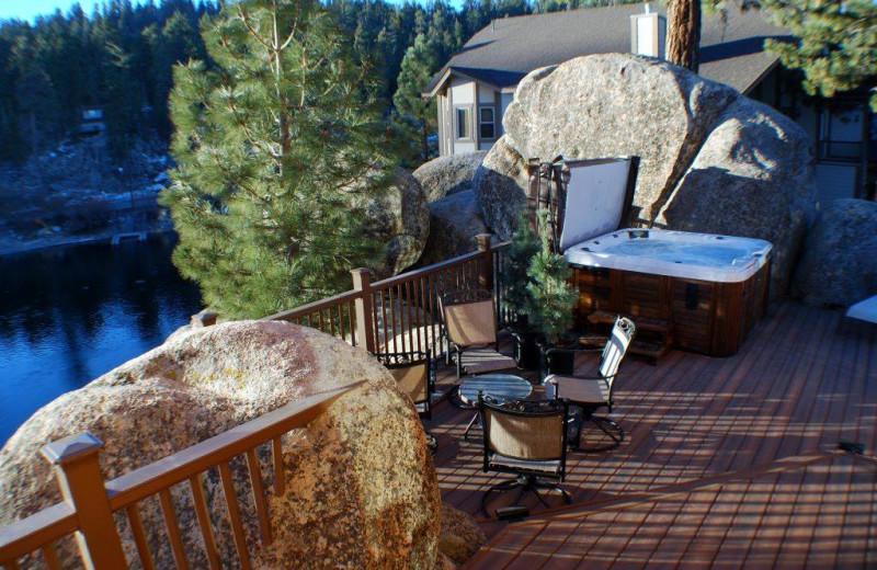 Rental deck at Big Bear Cool Cabins.