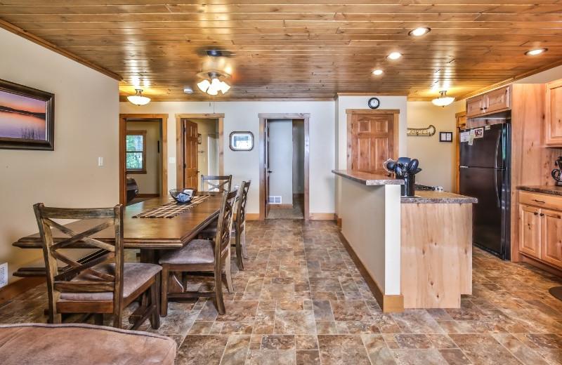 Cabin kitchen at Serenity Bay Resort.