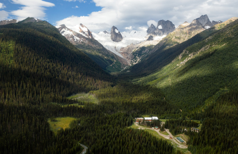 Aerial view of CMH Bugaboos Lodge.