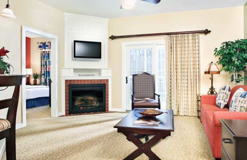 Vacation living room at Wyndham Vacation Resorts Shawnee Village.