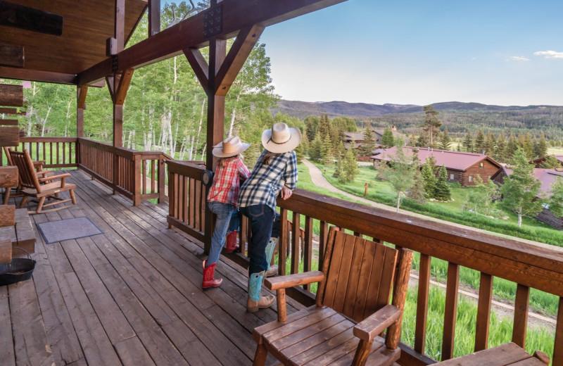 Cabin deck at Vista Verde Ranch.