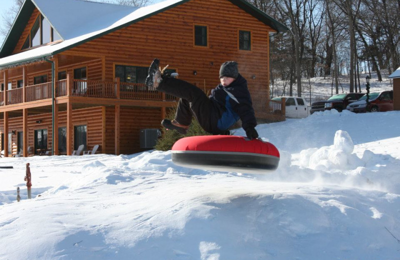 Sledding at Cedar Valley Resort.