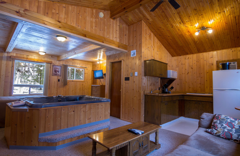 Cabin interior at Tallpine Lodges.