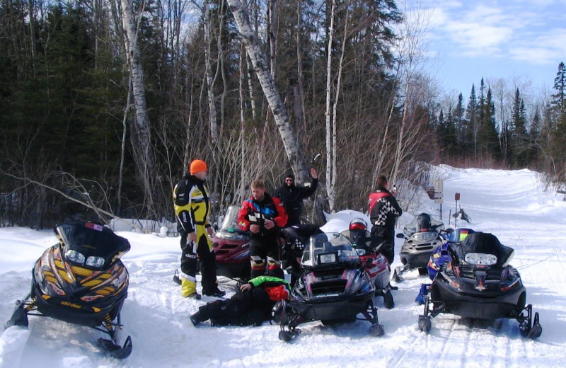 Snowmobiling at Kavanaugh's Sylvan Lake Resort.