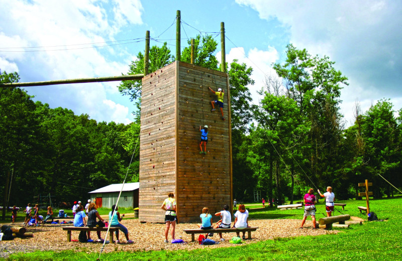 Rope climbing at YMCA Trout Lodge & Camp Lakewood.