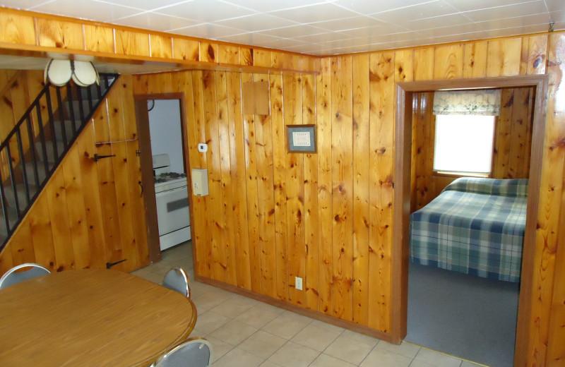 Cabin interior at Arnesen's Rocky Point Resort.