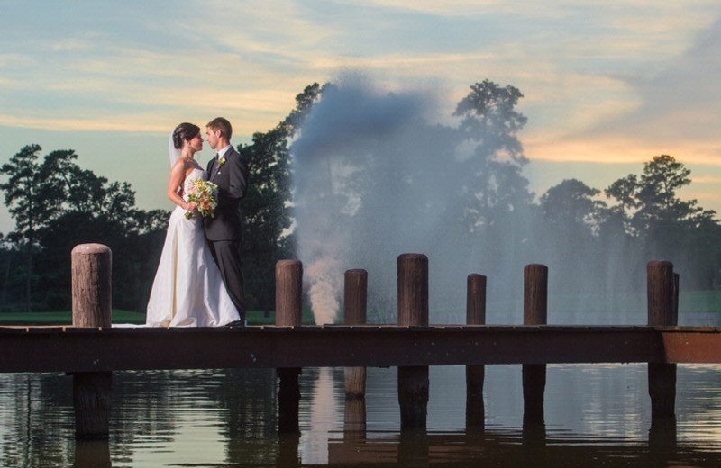 Wedding couple at The Woodlands Resort and Conference Center.